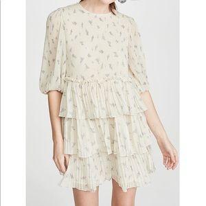 GANNI Pleated Georgette Dress SZ 36 (SM)